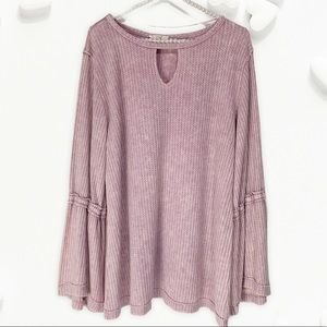 Easel Waffle Knit Top Long Bell Flare Sleeves Key